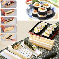 Wholesale Easy Sushi Roller - DIY Japanese Sushi Master Device Mould 10pcs set Porphyrilic Rice Balls Set To Perfect Roll Sushi Easy Maker Roller Equipment