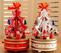 Wholesale Carousel Music Box Wooden - Dream Christmas Tree Wood Music Box Wooden Carousel Music Case Xmas Tree Best Gift for Kids Child Music Boxes drop ship QY-004