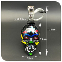 Wholesale Cheap Tobacco Pipes Free Shipping - Wholesale Colourful Skull Head Glass Bong Popular Glass Hookah Pipe Durable Mini Shisha Tobacco Smoking Cheap Water Pipe free shipping