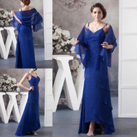 Wholesale Ankle Length Graceful Dresses - Graceful Mother Of The Bride Dresses Spaghetti Backless Wedding Guest Dress Ankle Length Sequined Mothers Groom Gown With Chiffon Capes