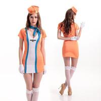 Wholesale Stewardess Halloween Costumes - 2016 Stewardess Uniforms Orange Sexy Pilot Flight Stewardess Aviation Fancy Dress Halloween Party Costume Cosplay Costume