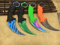 Wholesale Stainless Sharpening Steel - CS GO Counter Strike claw Karambit Knife sharpen Neck Knife Sheath gold Tiger Tooth Real game Knife camping