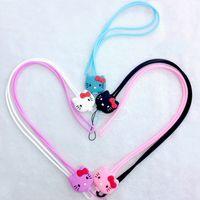 Wholesale Wristlet Cartoons - Cartoon Hello Kitty Silicone Long Straps Detachable Sling Hook Lanyard Wrist Straps Charms Keychain Wristlet for Mobile Phone USB Keys