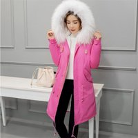 Giacca invernale da donna Slim Duck Down Coat Large collo di pelliccia Warm Hooded Parka Rabbit Fur Vescica Militare Snow Outwear