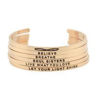 Wholesale Gold Hand Cuff Bracelet - New arrival! stainless steel open cuff bracelet rose gold Hand Stamped Bracelet Bangle engraved words bracelet bangle jewelry