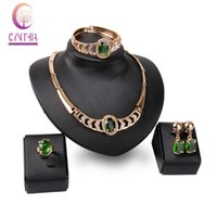 Wholesale Emerald Earrings Oval - Fashion Crystal Jewelry Sets For Women Emerald Oval Pendant Necklace Earrings Bangle Ring 18K Gold Plated Wedding Bijouterie