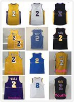 Wholesale Shirts Mens Stitching - wholesale Free Shipping Mens 2# Lonzo Ball jersey cheap Youth Ball basketball jerseys Stitched Shirt