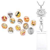 Design exclusivo Emoji Button Snap Office Lanyard ID Badges Holder Necklace Keychain Jóias White Flower Holder Accessory N181S