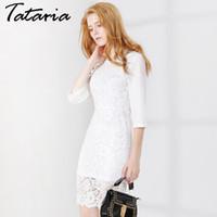 Wholesale Women Causal Lace Dress - White Dress With Lace Women Hollowed Out Slim Causal Dresses High Waist Half Sleeve Vestido De Renda Femal Clothing Garemay