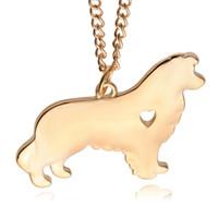 encantos bonitos para cães venda por atacado-Akita dog necklace bonito design 18 K banhado a ouro cão pingente de colar de jóias belo presente de prata banhado com 55 cm cadeia polonês cão charme