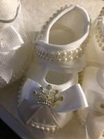 Wholesale Ivory Baby Booties - Baby Girls Christening Shoes Booties Party Ivory Satin Flowers Diamonds Pearls