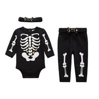 Wholesale Romper Hairband Set - Baby Clothes Romper Halloween Babies Rompers Luminous Skeleton Infant Clothing Romper + pants + hairband 3 pcs Sets Cotton Clothing