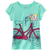 Wholesale Animal Bike Jersey - Blue Bike Girls T-Shirts Brand New Children summer sleeved t shirts tops 100% Cotton 18m-6year kids polo shirts outfits jersey