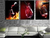 mutfak için yağlı boya tuvali toptan satış-3 Parça Modern Mutfak Tuval Resimlerinde Kırmızı Şarap Bardağı Şişe Duvar Sanat Yağlıboya Set Bar Yemek Odası Dekoratif Resimler