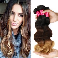 Wholesale Hiar Wave - 3 Tone Ombre Hair Weaves Brazilian Body Wave Virgin Human Hair Weaves 100% Brazilian Peruvian Malaysian Ombre Hiar Body Wave Virgin Hair