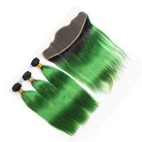 ingrosso tessuto per capelli verde ombre-8A Ombre Pizzo Frontale Chiusura Con Bundles Capelli 2 Tone 1B Ombre Verde Dritto Capelli Umani Tesse Con Pizzo Frontale