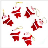 Wholesale nylon dolls for sale - Group buy Christmas tree ornaments Santa Claus CHRISMAS Tree Decorations Hanging Ornaments red tiny santa dolls