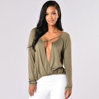 Wholesale Low Cut Top Sleeves - Women Autumn Plunge T-shirt Long Sleeve Lady Tops V Neck Blouse Sexy Low Cut Tee