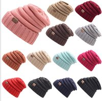 Frauen Hüte Caps Mode Kaufen -Womens Girls Thick Cap Hut Skully Unisex Slouch Gestrickte Beanie Erwachsene gestrickte Hut Wolle Hut Mode Outdoor Warme Mütze KKA2845