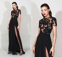 Wholesale Clubwear Dress High Slits - 2016 Black Split Evening Dresses Zuhair Murad Crew Short Sleeves Hollow Top A Line Chiffon High Side Slit Prom Party Dress Clubwear Women