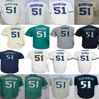 Johnson Gris Baratos-2017 Hombres Mujeres Juveniles Seattle 51 Randy Johnson 51 Ichiro Suzuki Azul Verde Gris Blanco Barato Cool Flex Base Base Jerseys de béisbol