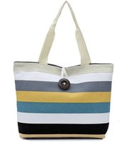 Wholesale Shopper Bags - New brand 2015 Fashion women Lady striped Shopper Handbag Shoulder Canvas Bag Tote Purse