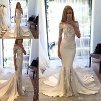 Wholesale Cheap Couture Gowns - Steven Khalil 2016 Berta pallas Couture Spring Collection Off Shoulder Mermaid Wedding Dresses with Half Sleeves Arabic Cheap Bridal Gowns
