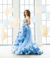 yumuşak ruffles balo elbisesi toptan satış-Yumuşak Bebek Mavi Ruffles Gelinlik Modelleri 2017 Mütevazı Straplez Tül Kişiselleştirilmiş Kız Pageant Elbise Sayısı Tren Fermuar Prenses Abiye