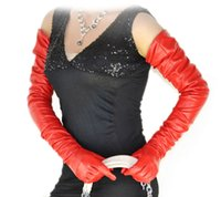 """Wholesale Color Long Leather Gloves - 80cm(31.5"""") long super long plain style top quality leather evening opera gloves red color"""