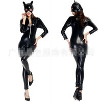 Wholesale Real Sexy Cosplay - Wholesale-Real Shot New Arrival Black Cat Girl Catwoman Halloween Rave Party Cosplay Queen Sexy Patent Leather Uniforms Masquerade H15616