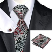 Wholesale Silk Neck Ties Xl - SN-359 Lightgrey Red Black Paisley Tie Hanky Cufflinks Sets Men's 100% Silk Ties for men Formal Wedding Party Groom