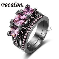 Vecalon Black Gold Filled Femmes Engagement Bague de Mariage Ring Set saphir rose Simulated Diamond 925 Sterling Silver Party Ring