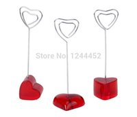 Wholesale pictures red hearts - Wholesale- 1 PCS Red Love Sweety Heart Base Card Picture Memo Photo Clips Holder For wedding party Decoration gift