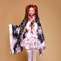 ingrosso abiti da principessa giapponese-All'ingrosso-2018 Nuovo oggetto Heavy Sakura Cosplay Anime Outfit Kimono giapponese Maid Lolita Costume donne principessa Dress