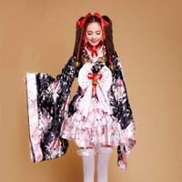 Wholesale lolita anime - Wholesale-New Heavy Sakura Cosplay Anime Outfit Japanese Kimono Maid Lolita Costume Princess Dress
