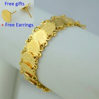 Wholesale Jewelry Islam Women - 20CM Islam coin bracelet women 18K gold plated filled hand chain bangle wholesale,muslim arab middle east jewelry africa wedding