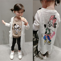 Wholesale Mouse Children Sweater - 2017 Little Girls Mickey Mouse Autumn Spring Cardigan Sweater Kids Top Dress Children Clothes Cartoon Cardigan