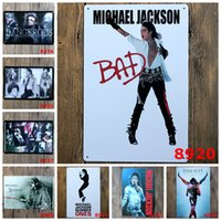Wholesale Rock Poster Art - 2016 20*30cmMichael Jackson superstars king of rock retro poster Tin Sign Coffee Shop Bar Restaurant Wall Art decoration Bar Metal Paintings