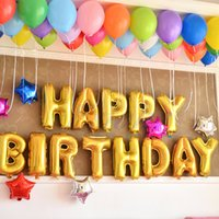 Wholesale Letters Balloons Foil - 16inch(13PCs) Gold Letter Aluminum Foil Balloons Helium Ballon Inflatable Birthday Party Decoration Celebration Supplies