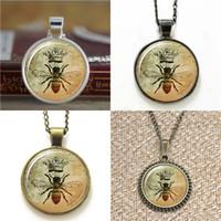 arı bilezik takı toptan satış-10 adet vintage Kraliyet Taç arı Sanat Kolye BP11 Kraliçe Arı Takı Kolye Kolye anahtarlık imi kol düğmesi küpe bilezik