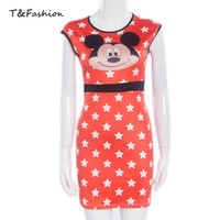 Wholesale Cute Tight Red Dress - Red Tight Dress Body Fitted Dresses Tight O-neck Sleeveless Formal dresses with a Cute Animal Pattern