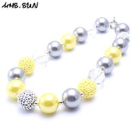 Wholesale Chunky Yellow Beaded Necklace - MHS.SUN Fashion Yellow+Silver Color Kid Chunky Necklace Designable Children Bubblegum Bead Chunky Necklace Jewelry For Toddler Girls