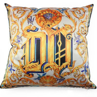 Wholesale Golden Flower Patterns - Cotton Linen Pillowcase Golden Baroque Flowers Pattern Cushion Sofa Bolster Classical Durable Printed Pillow Case Home Decor 6 5bha R