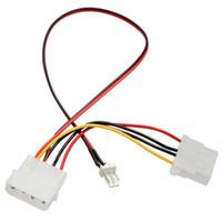 cabo de alimentação venda por atacado-Atacado-New Arrival 3 pinos para 4 pinos adaptador de cabo de extensão conector de alimentação IDE para PC CPU ventilador cabos de computador conectores