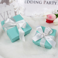 Wholesale Turquoise Wedding Favor Boxes - 50pcs lot Elegant Turquoise Candy Box Wedding Favor Sweets Chocolates Square Box Jewelry Gift Case Pouch Silk Ribbon 2 Sizes Available