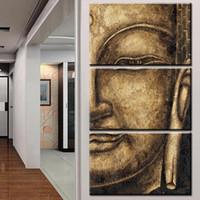 grupos de fotos al por mayor-La alta calidad original del Grupo HD pintura al óleo 3 Panel Wall Art Religión Buda pintura al óleo sobre lienzo NO foto de la pared enmarcada