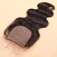 Wholesale Silk Top Lace Closure Indian - Cheap Brazilian Silk Base Closure Body Wave Human Hair Silk Top Lace Closure Free Middle 3 Part Silk Base Closure With Baby Hair
