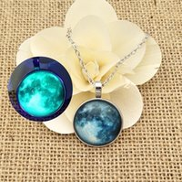 Wholesale Steel Time Jewelry - 25mm Glowing Austria crystal necklace moon time gum necklace Mexico srar sky Pendant Pregnany Jewelry belief Valentine's Day to send her