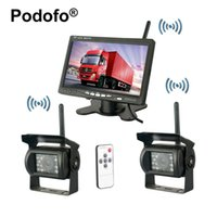 """Wholesale Backup Camera Parking - car Wireless Dual Backup Cameras Parking Assistance Night Vision Waterproof Rearview Camera 7"""" Monitor Kit for RV Truck Trailer Bus"""