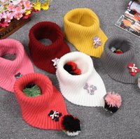Wholesale Scarfs Bear For Kids - Colorful Ball Scarves for Children Unisex Cartoon Bear Winter Neck Scarf Warm Wool Knitted Neckerchief Kids Scarves 11 colors